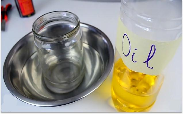 how to cut glass bottles jars using oil. Black Bedroom Furniture Sets. Home Design Ideas